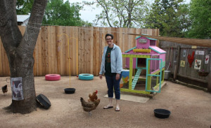 A woman stands in her yard near a small colorful coop and a few chickens